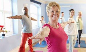 Senior adult woman exercising